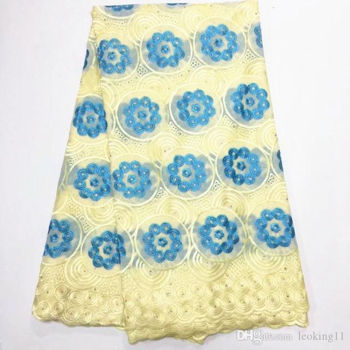 5 Yards / pc Neue mode wein afrikanischen baumwollgewebe stickerei und gelb blumen design schweizer voilespitze für kleidung BC157-1