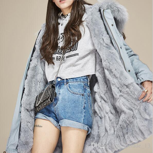 Lussuosa pelliccia rosa foderata in pelliccia di coniglio foderato di Jazzevar marca rosa giacche lunghe da donna cappotti con cerniera ykk parka da neve di buona qualità