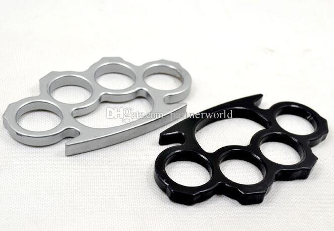 Pulidoras de nudillo de latón de acero fino de plateado y negro, autodefensa para hombres y mujeres de autodefensa de defensa personal