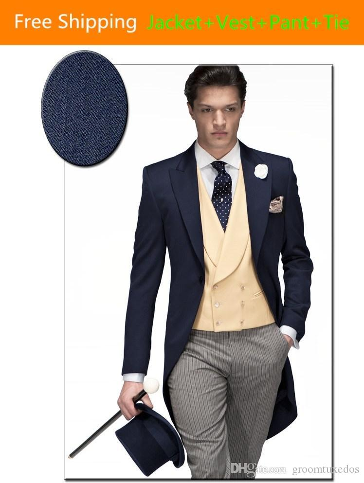 Classic Double Breasted Groom Tuxedos Jacket Pant Vest Wedding ...