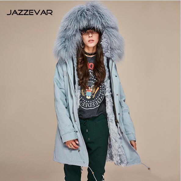 Mulheres casacos quentes Jazzevar marca preto forro de pele de cordeiro camuflagem shell longo casaco de inverno parka com guarnição da pele com capuz