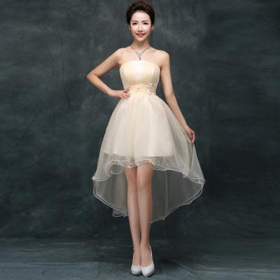 작은 꽃 샴페인 레이스로 신부 들러리 가운을 가진 부드러운 Tulle Strapless 짧은 들러리 드레스 6 스타일 혼합 주문