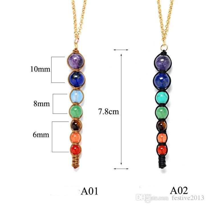,New Hot! Multicolor Lava 7 Chakra Healing Balance Beads Necklace Women Necklaces & Pendants Reiki Spiritual Yoga Jewelry Pendant Necklace