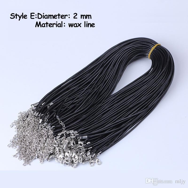 MLJY 9 estilos Correntes de cera de couro preto Colar de corda 45cm corrente lagosta fecho diy colares pingentes acessórios de jóias atacado