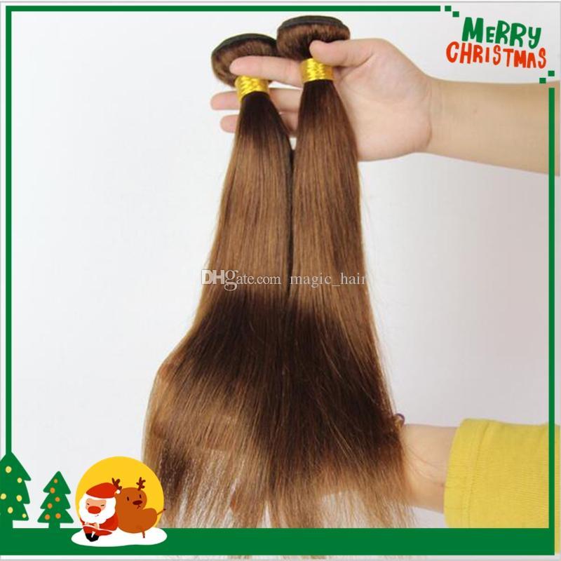 Pure Colored #4 Medium Brown Brazilian Virgin Remy Hair Straight Weave Chocolate Mocha Silky Straight Human Hair Extensions Bundles