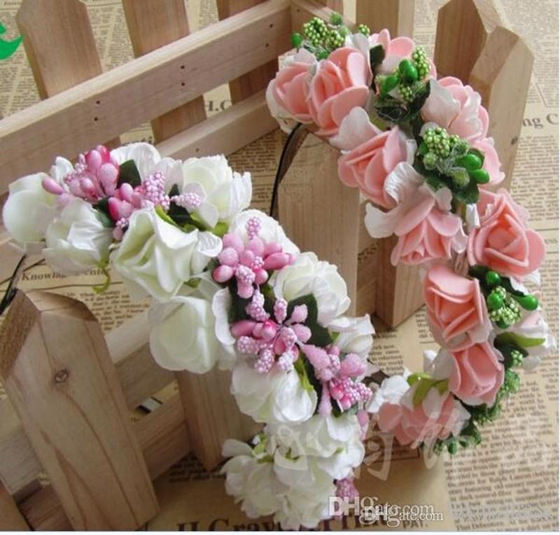 2018 Yaz Renkli Plaj Düğün Renkli Çiçekler Ile Çelenk Bohemian Bantlar Çiçek Garland Gelin Saç Aksesuarları ucuz