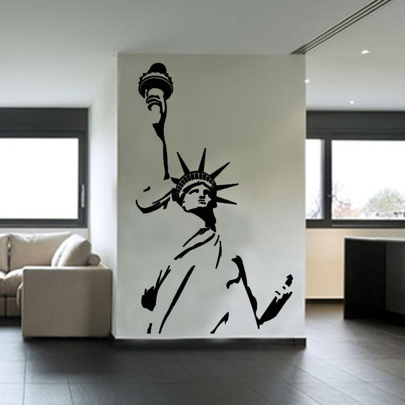 Great Statue Of Liberty Wall Sticker New York City Symbolic Living Room  Decorative Wall Decal Vinyl Removable Diy Home Decor Bathroom Wall Decals  Bathroom Wall ... Pictures Gallery