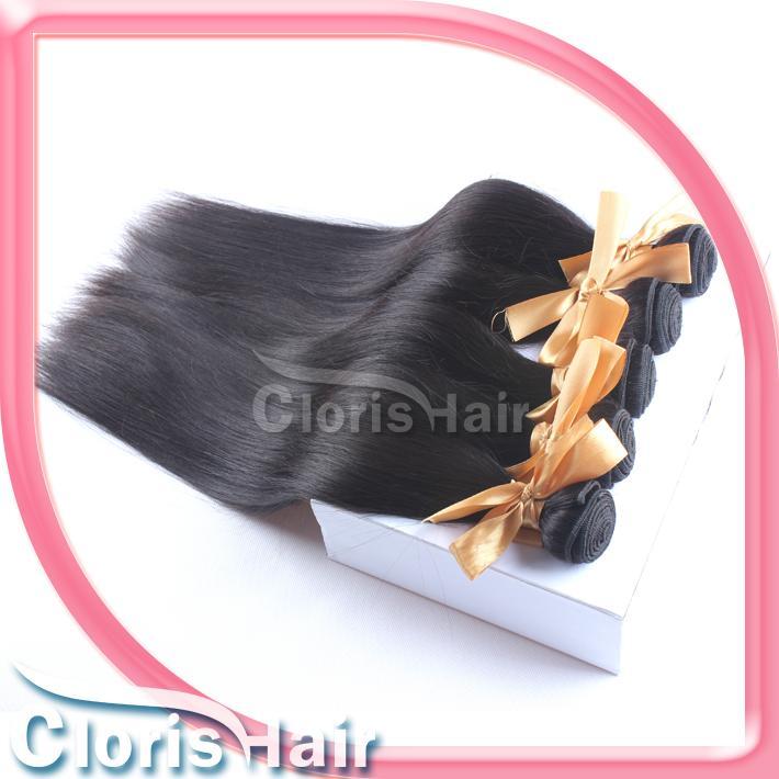 Increíble libre media parte de la Virgen recta de cierre superior de encaje brasileño con 3 paquetes de cabello humano teje barata trama recta brasileña