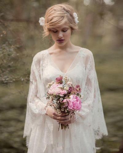 Романтический Sheer кружева чешский пляж свадебные платья с длинным рукавом Весна бохо сад стиль страны 2018 Vestido де novia формальные свадебное платье
