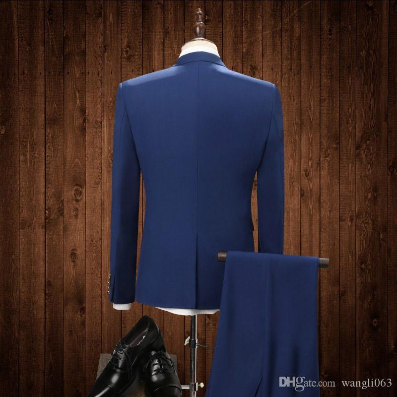 Handsome Blue Groom Tuxedos Wedding Wear 2018 Peaked Lapel Business Men Suits Three Piece Groomsmen Suit Jacket + Pants + Vest