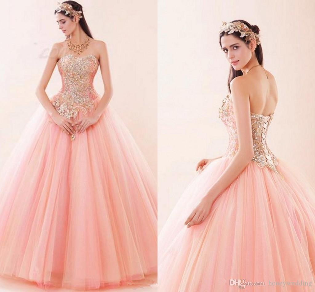 c372f65d9cd2 Beautiful Pink Ball Gown Quinceanera Dresses Sweetheart Appliques Beads  Ruched Tulle Debutante Masquerade Sweet 16 Prom Dress Cheap Formal Dress  Cheap ...
