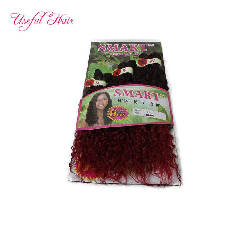 ombr Dark brown color SMART BEST QUALITY synthetic weft hair Jerry curl crochet hair extensions crochet braids hair weaves marley