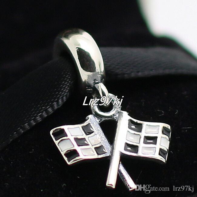 2015 Yeni 925 Gümüş Damalı Flasgs Dangle Charm Boncuk Emaye Avrupa Pandora Takı Bilezikler Kolye Kolye Uyar