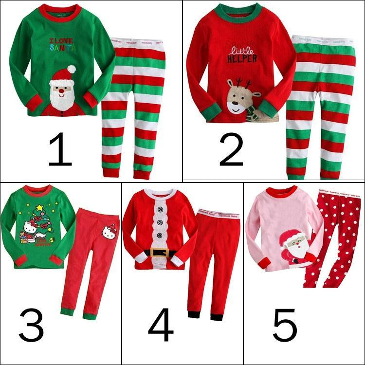 2016 Kids Christmas Sleepwear Children Clothing Boys Suits Girls ...