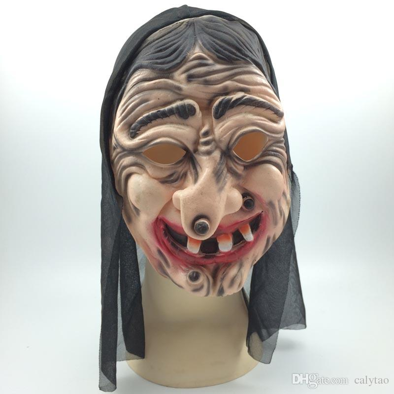 Cosplay Witch Mask Latex Halloween Party masks with Black Clothing Full Face Ghost Mask