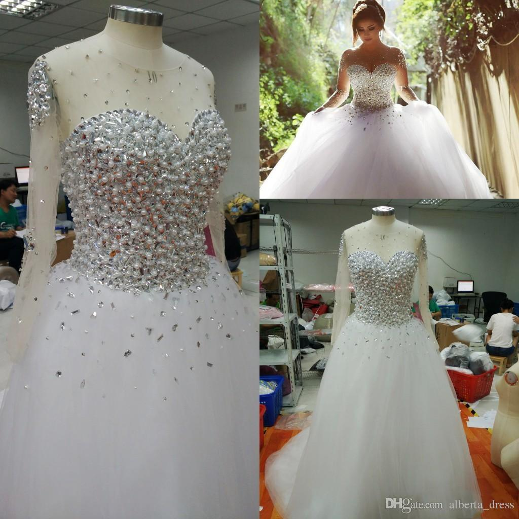 Real Images Popular Crystals Ball Gown Wedding Dresses Sheer Crew Neck with Long Sleeves Pearls Beaded Formal Arabic Vestidos De Noiva