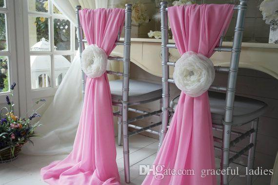 Стул шифон из слоновой кости Sashes Свадебные вечеринки Деокрации свадебные чехлы для свадебных чехлов Sash Bow Custom-Made Color Доступны 20 дюймов W * 85inch L