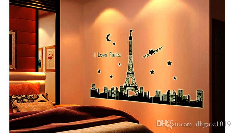 Paris Tower Night Glow Stickers Background Wall Stickers Bedroom Living  Room Decoration Wall Posters Eiffel Tower Wallpaper High Quality Wall Decal  Adhesive ...