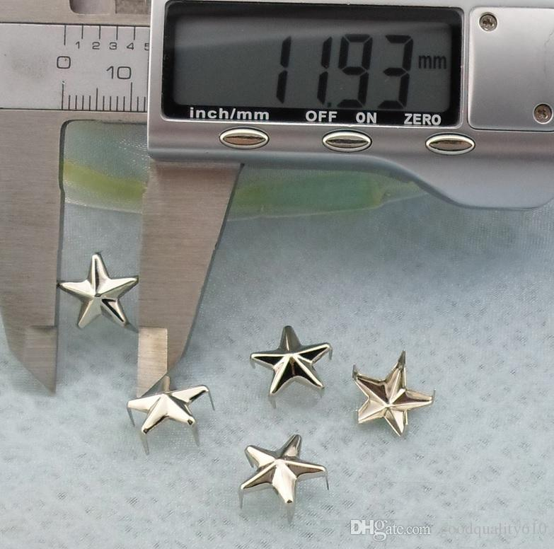 12mm Five-pointed star Silver Pyramid Studs Spots Punk Rock Nailheads DIY Spikes Bag Shoes Bracelet