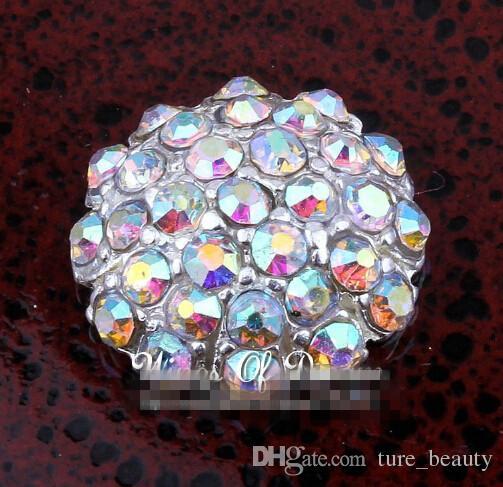 Скидка 5% 100 шт. / Лот 18 мм Серебряный ручной работы Starburst Metal Crystal Кнопка для Bridal Brouches Alloy AB Rhinestone Flatback Свадебная кнопка