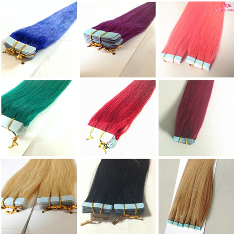 wholesale human hair tape in hair extensions Color indian remy Hair Products pink red blue purple
