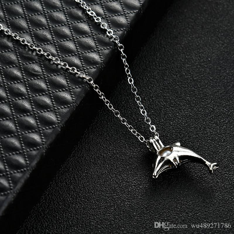 Lovely Dolphins Pendant Necklace Fashion Locket Cage Necklace With Natural Oyster Pearls Beads Clavicle Chain Jewelry