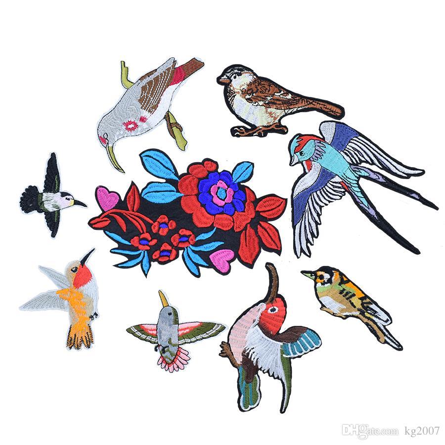 10 stücke Vögel und Blumen Patches für Kleidung Taschen Eisen auf Transfer Applique Patch für Jeans DIY Nähen auf Stickerei Patch