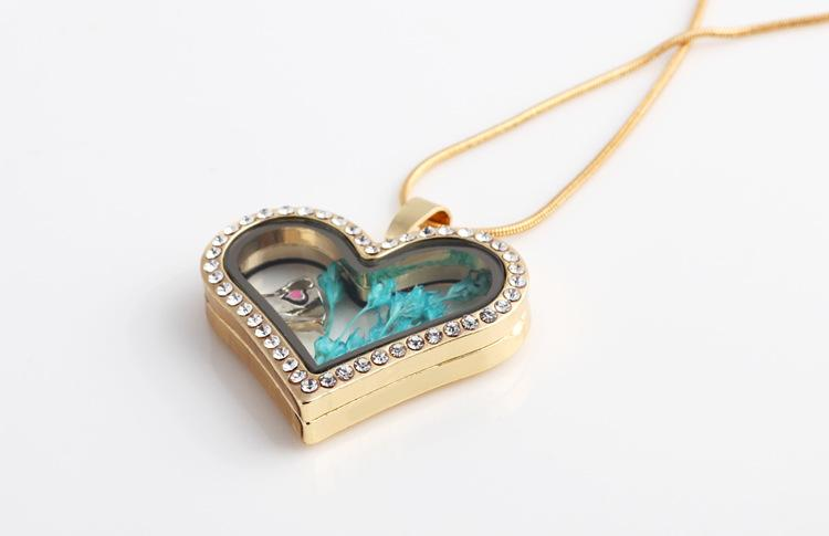 New Heart Transparent glass crystal floating lockets dry flower plant memory locket silver gold pendants snake necklaces