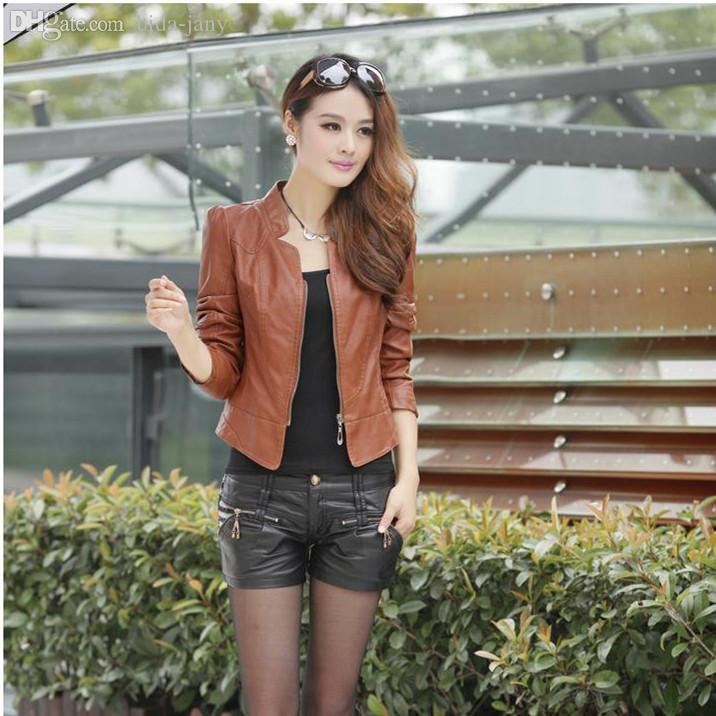 69a39c1c7167 MS Collection  first look 4cd76 1932f Wholesale-2015 Women Black Leather Jacket  Fashion Short Womens Leder Jackets ...