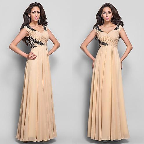 Champagne Elegant Mother Of Bridal Dresses V Neck Appliques Lace ...