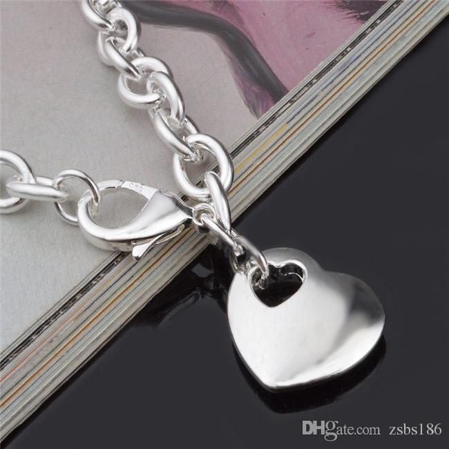2015 yeni tasarım En kaliteli 925 Gümüş Kalp Kolye Bilezik Moda Takı sevgililer Günü hediye kızlar için ücretsiz kargo