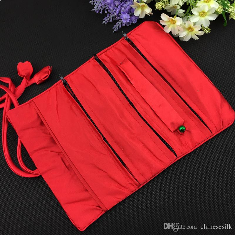 Flower Chinese Silk Brocade Cosmetic Jewelry Travel Roll Up Bag 3 Zipper Pouch Drawstring Women Makeup Storage Bag