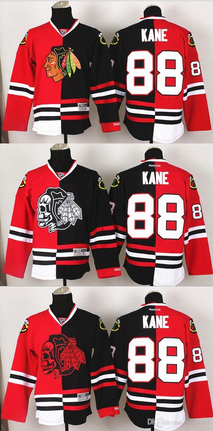 info for ffe39 89a5f Cheap 2016 Ice Hockey Jersey Chicago Blackhawks #88 Kane Red/Black Split  jerseys (Red/White/Yellow Skull) Top quality Hot selling