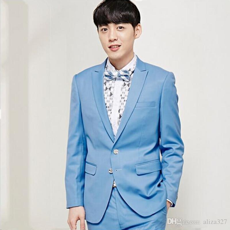 Erkek takım elbise yüksek kaliteli slim fit takım elbise erkek düğün smokin düz renk yeni tasarım balo parti elbise takım elbise parti elbise ceket + pantolon