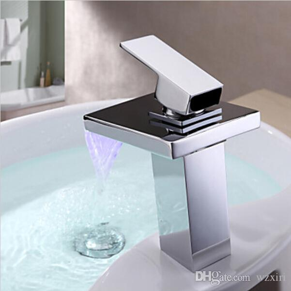 Chromed Polished Battery RGB LED light Bathroom Basin Sink Mixer Tap Brass Waterfall Faucet C3075