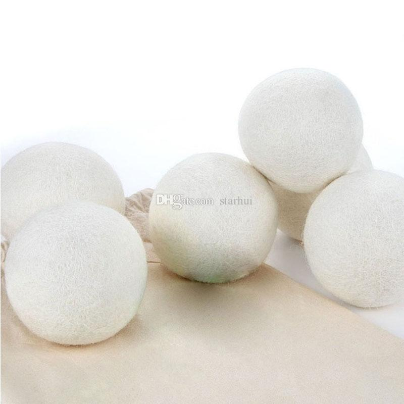 6 teile / los Wolle Trockner Bälle Reduzieren Falten Wiederverwendbare Natürliche Weichspüler Anti Static Große Gefilzt Organische Wolle Wäschetrockner Ball WX9-189