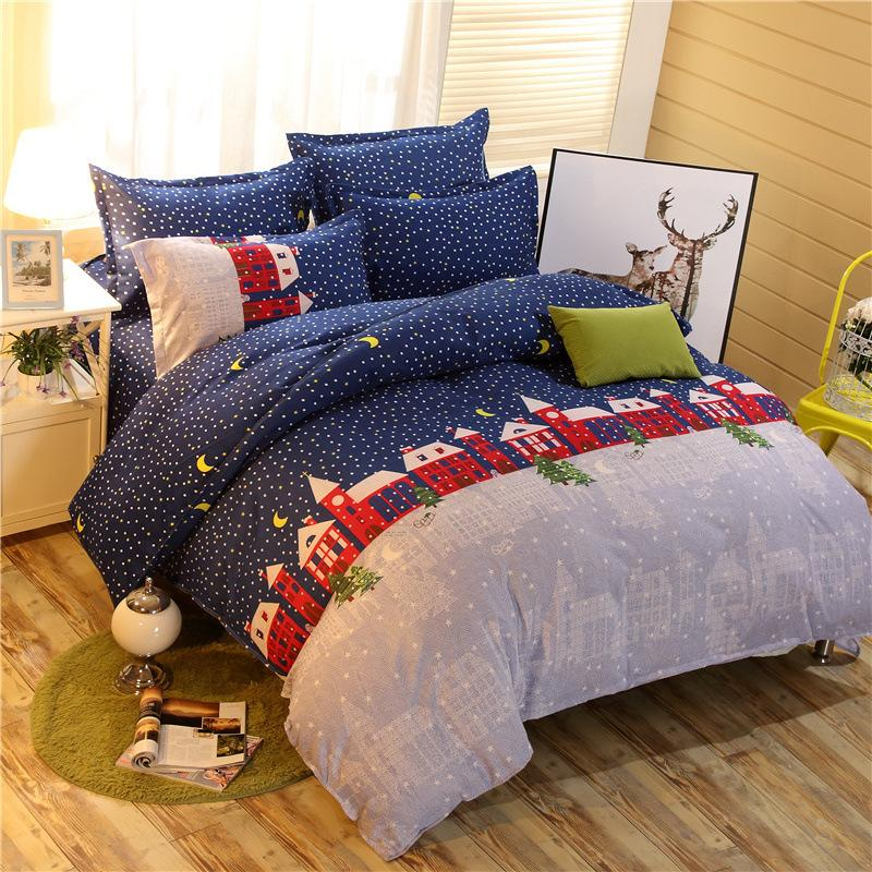 bedding set cartoon red house bedding christmas style high quality polyester bed sheet pillowcase bedspread duvet cover purple duvet covers funky duvet