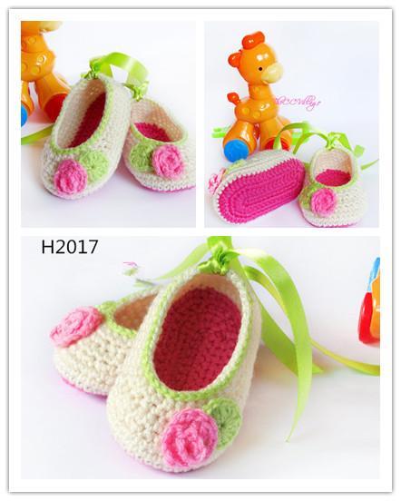 2015 recién llegado de croché Blanco bebé niña zapatos 16 paris 32 unids Bailarina Zapatos de Bebé con la flor del primer walker zapatos de algodón 0-12 M de algodón