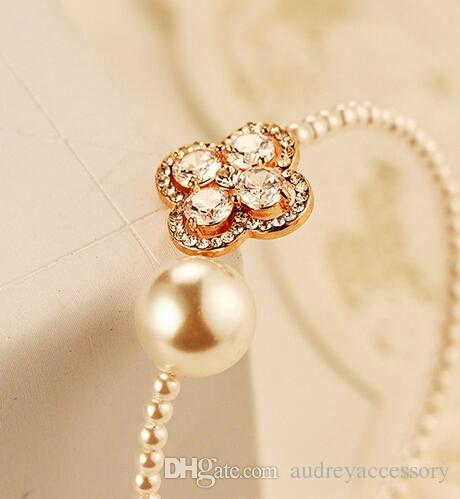 clover bracelet contracted pearl elegant cuff gold diamond gifts gift birthstone charm