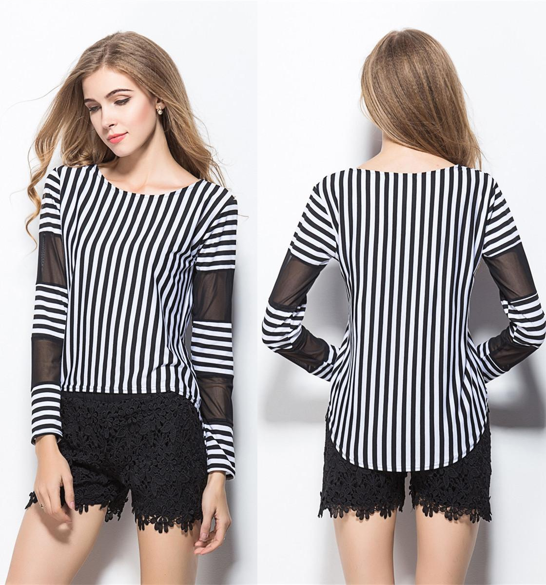Black and white striped t shirt xxl - Best Women T Shirts Blouses Tops Long Sleeves Net Panelled Striped Irregular Black White Polyester Fiber S Xl Cheap Under 9 1 Dhgate Com