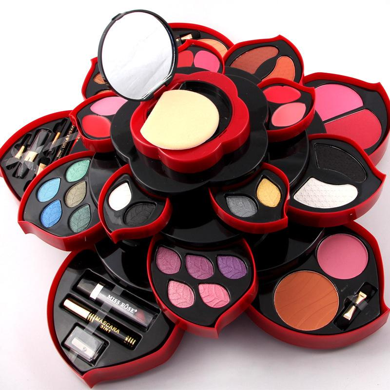 Rotating Color Palette Makeup Box Cosmetic Kit Beauty Tool Make Up Eyeshadow Dish Make Up Plum Blossom Case Lipstick Eyeliner Set Free Makeup Makeup Brush ...