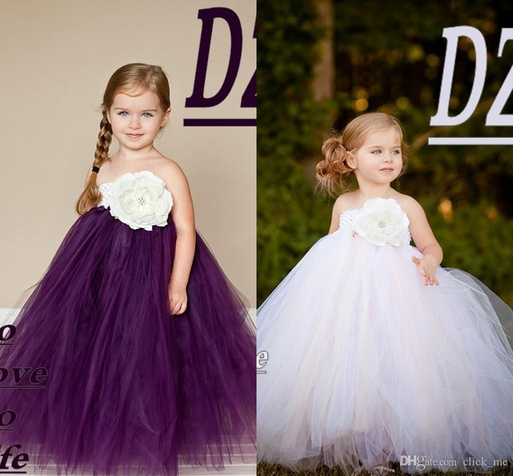 cute little flower girl dress a line floor length hand made flowers