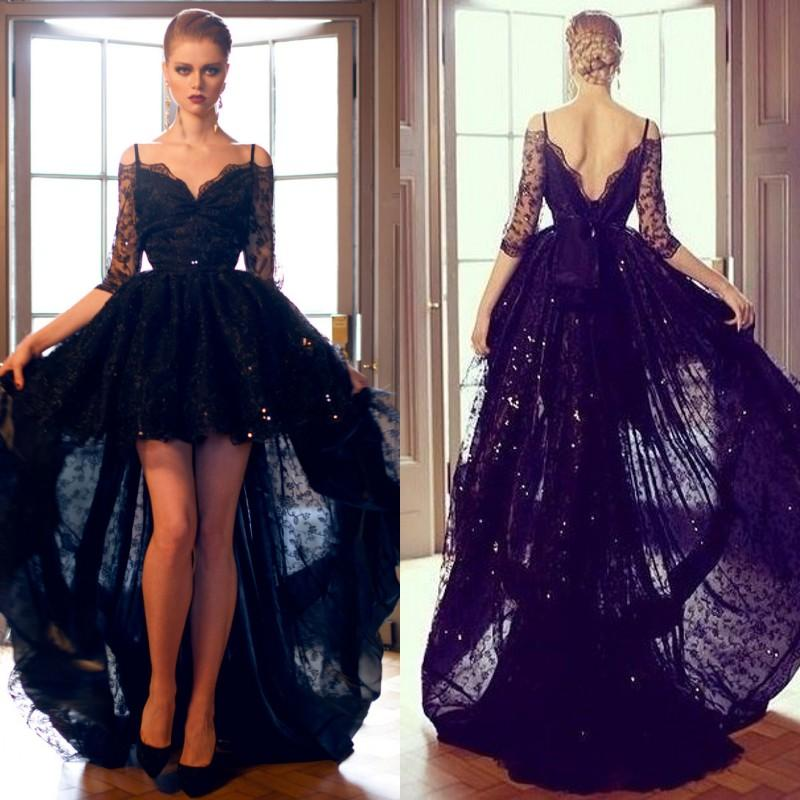 Sexy Black Lace High Low Formal Evening Prom Dresses Off