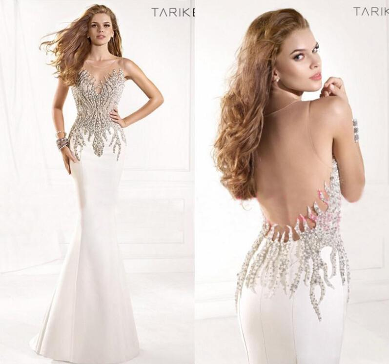 2015 Summer Sheer Tarik Ediz Formal Evening Gowns Sexy Illusion Crystals Rhinestone Backless Mermaid Vintage Pageant Prom Dresses TE93029