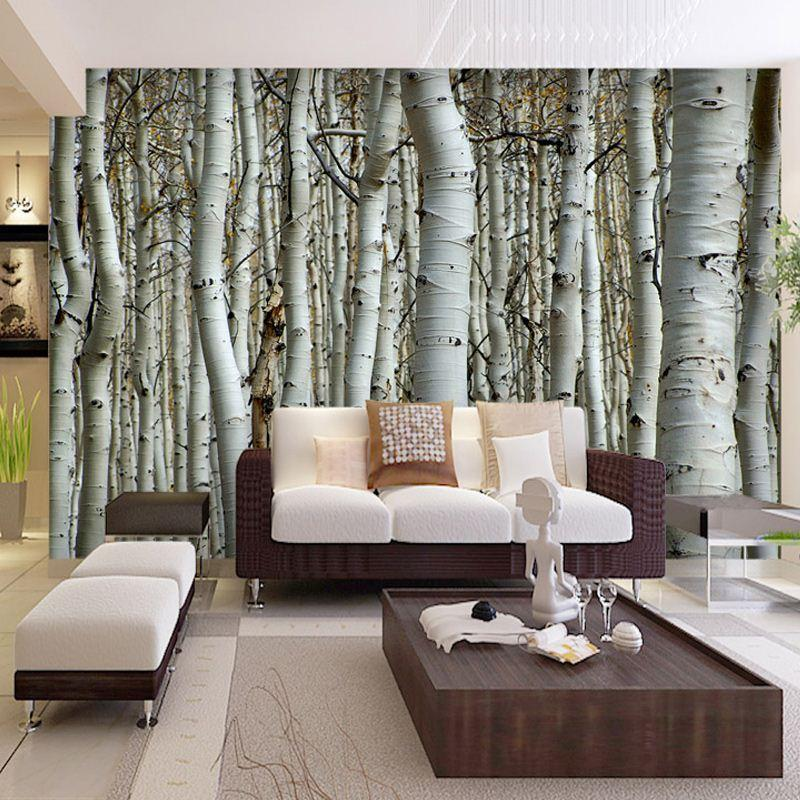 Custom Seamless Mural Simple European 3D White Birch Forest Wallpaper  Bedroom Living Room TV Backdrop Wallpaper Wall Covering High Quality  Covering A C ...