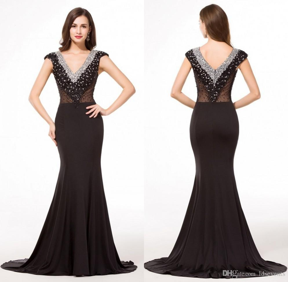 a986d390aff73 Mermaid Evening Dresses Black Spandex V Neck Big Ass Beading 2016 Crystall  Long Length Elegant Plus Size Formal Vestidos Gowns Abendkleider