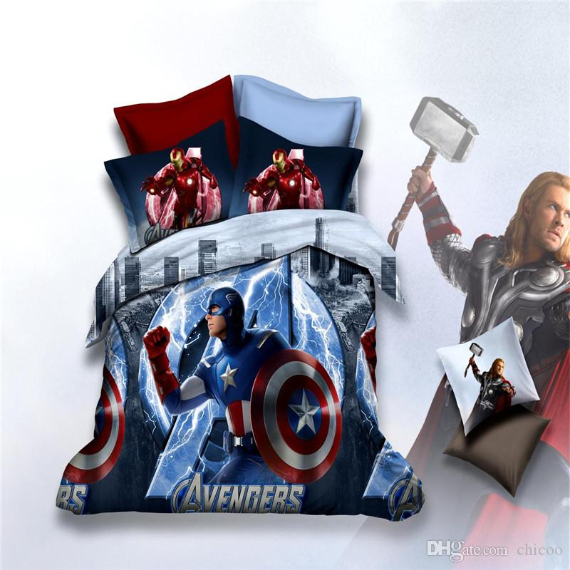 arrival 3d printed kids bedding set batman anna minions avengers bedspread bedding setsduvet coverbed sheet quilt full queen size cool bedding blue