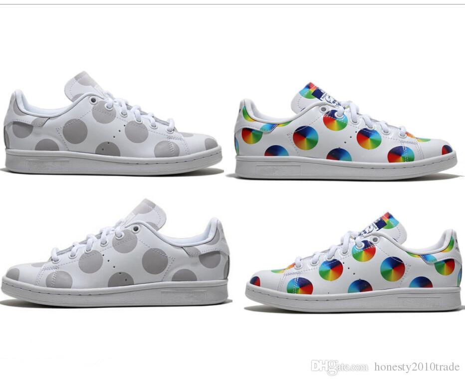 the best attitude 1f5fd 85817 2015 spring and summer stan smith colorful dot GRAY dot sneakers for women  and men sports shoes running shoes drop shipping size 36-44