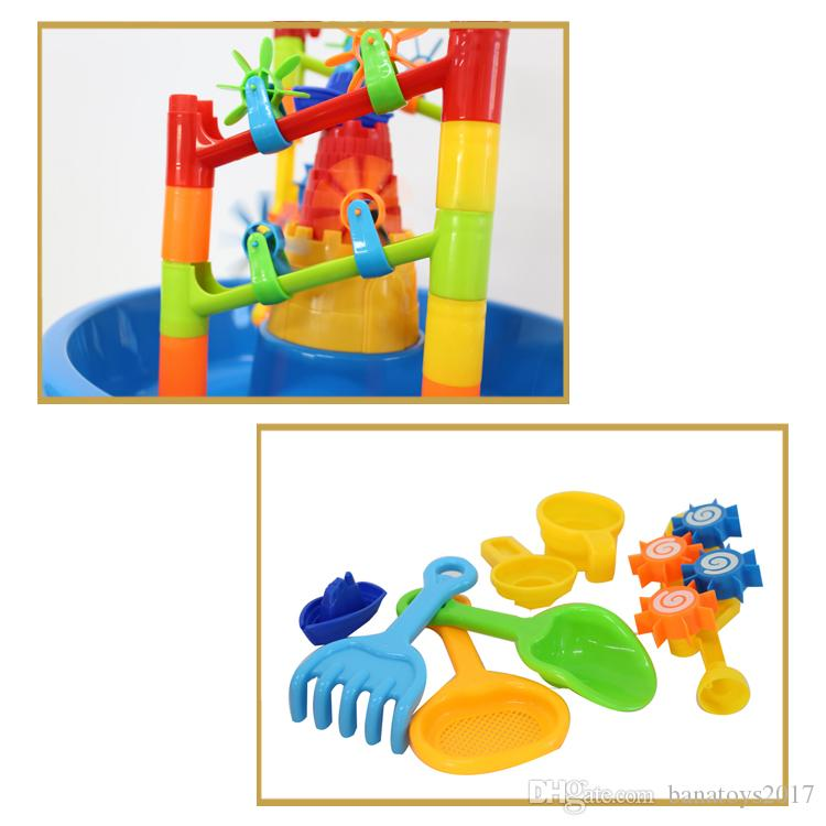 Summer outdoor beach toys table and water table multi-person toy set fun sand table toys set for kids