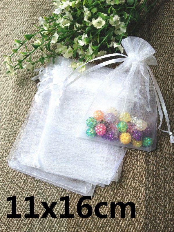 11x16 cm / lote atacado estoque grande branco mistura organza sacos de jóias cordão de presente armazenado malotes